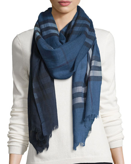 Ombre Giant Check Wool/Silk Gauze Scarf, Blue