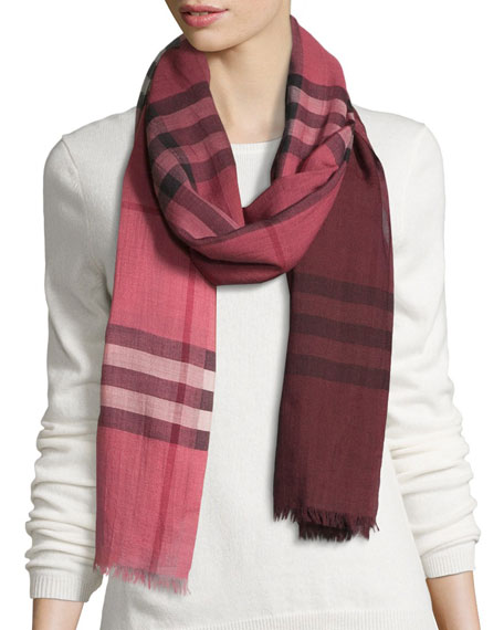 Burberry Ombre Giant Check Wool/Silk Gauze Scarf, Blush
