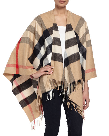 Burberry Collette Check Fringe-Trim Cape, Camel