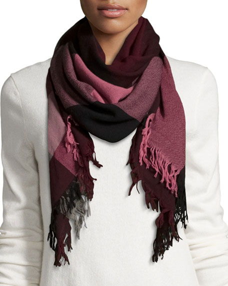 Wool Color Check Square Scarf, Garnet/Pink