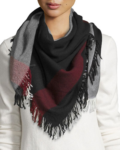 Wool Color Check Square Scarf, Black/White