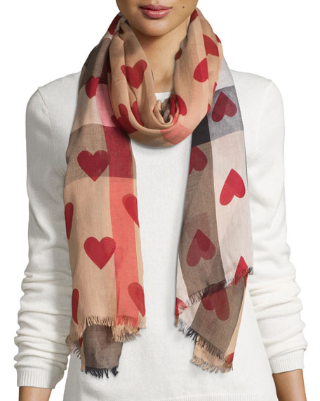 Check Heart-Print Voile Scarf, Camel/Red