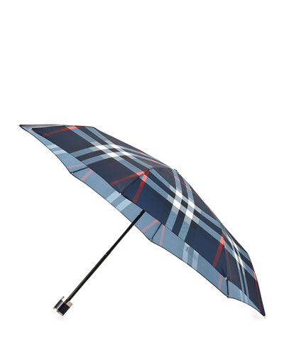 Sustainable Trafalgar Packable Check Umbrella, Navy