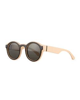 Round Brow-Bar Sunglasses, Nude/Black