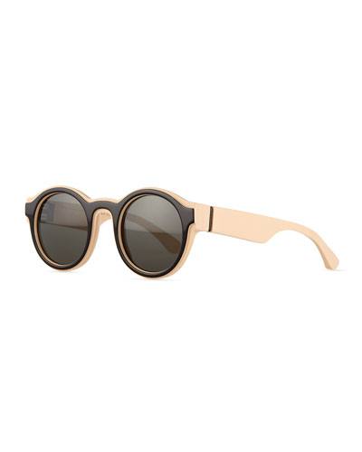 Round Brow-Bar Sunglasses, Nude/Black