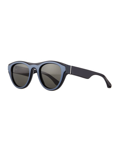 Cat-Eye Brow-Bar Sunglasses, Blue