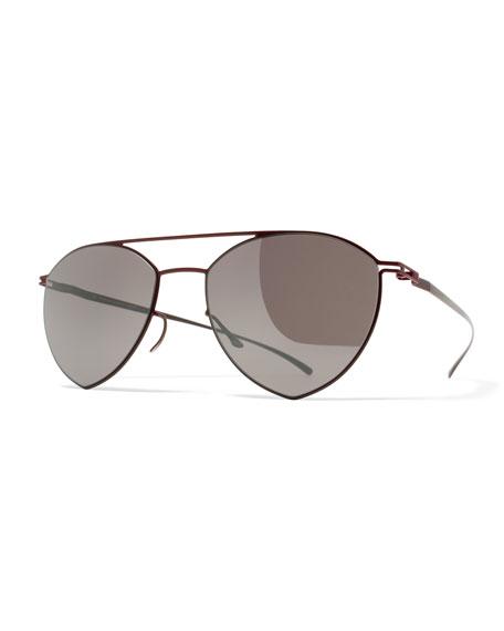Maison Margiela Essential Angular Aviator Sunglasses, Red/Purple