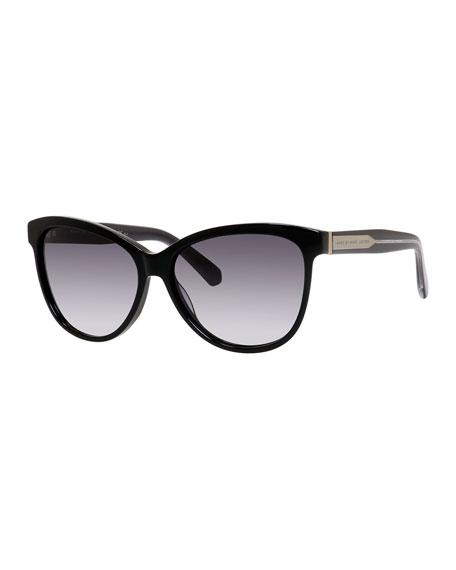 Gradient Oversize Cat-Eye Sunglasses, Black
