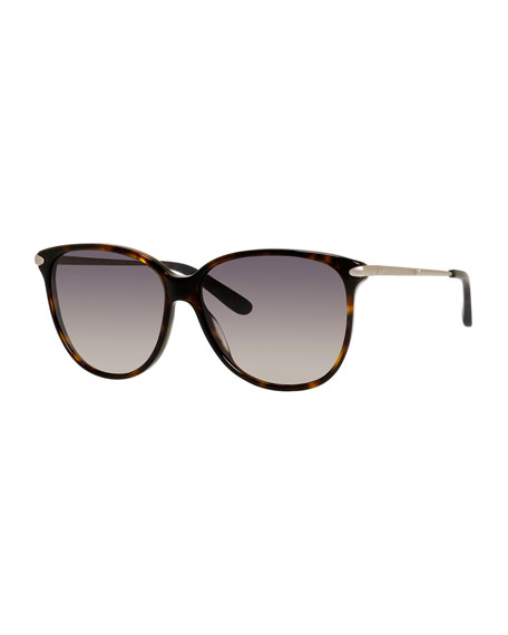 Gradient Oversize Cat-Eye Sunglasses, Dark Havana