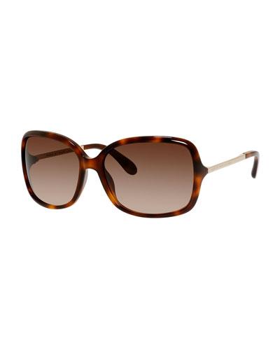 Gradient Oversize Square Sunglasses, Havana