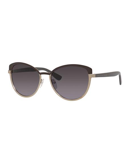 Metal Gradient Cat-Eye Sunglasses, Light Gold