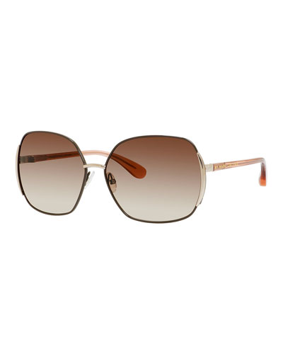 Metal Butterfly Sunglasses, Brown/Peach
