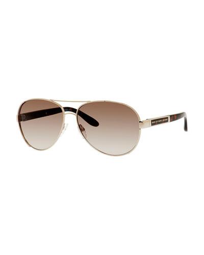 Capped Metal Aviator Sunglasses, Light Gold