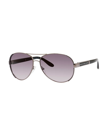 Capped Metal Aviator Sunglasses, Pewter