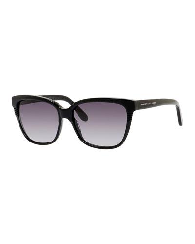 Etched Squared Cat-Eye Sunglasses, Black