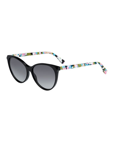 Gradient Plastic Cat-Eye Sunglasses, Black/Print