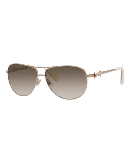 kate spade new york circce bow-temple aviator sunglasses,