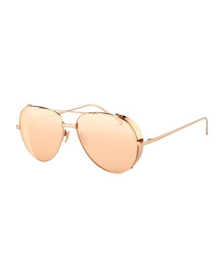 Linda Farrow Titanium Aviator Sunglasses, Rose Gold
