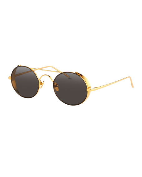 Linda Farrow Round Brow-Bar Sunglasses, Yellow Gold
