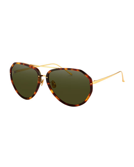 Linda Farrow Oversized Aviator Sunglasses, Tortoise
