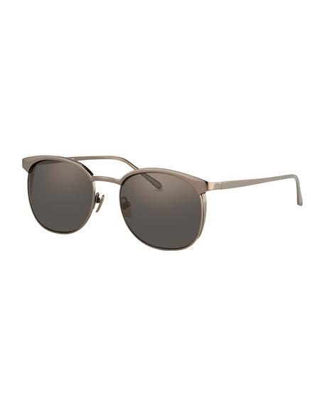Linda FarrowRounded Square Titanium Sunglasses, Gunmetal