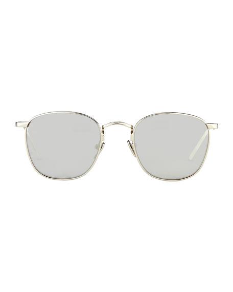 Mirrored Square Sunglasses, White Gold