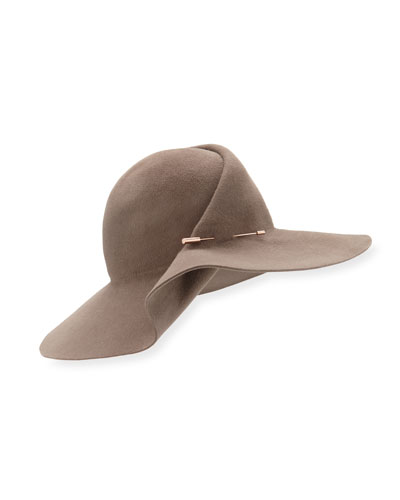 Catherine Wide-Brim Pinned Felt Hat, Mink