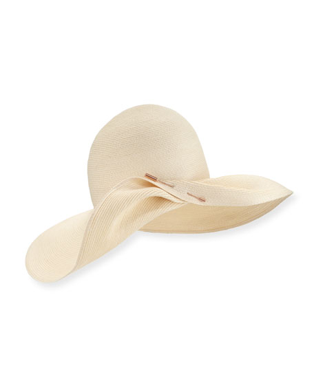 Eugenia Kim Cate Pinned Wide-Brim Sun Hat, Ivory