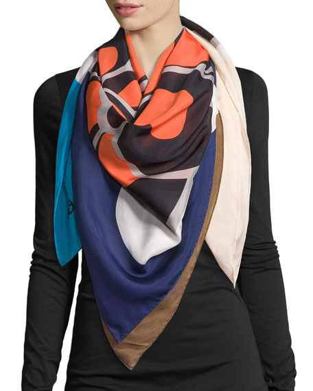 Square Flower Silk Scarf
