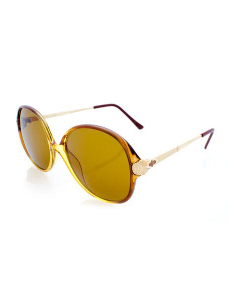 Christian Dior Oversized Monochromatic Sunglasses, Beige Gold