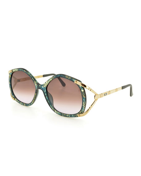 Christian Dior Printed Geometric Gradient Sunglasses, Green