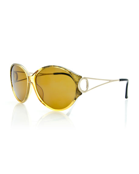 Christian DiorRound Open-Arm Monochromatic Sunglasses,