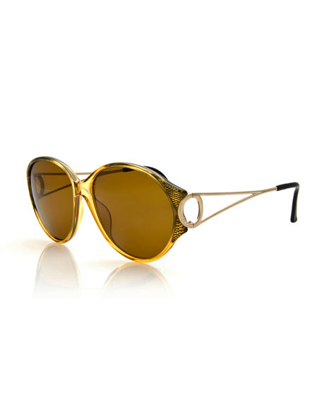 Christian Dior Round Open-Arm Monochromatic Sunglasses, Yellow/Gold