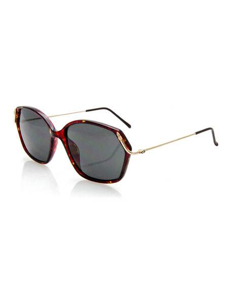 Christian Dior Geometric Monochromatic Sunglasses, Red/Brown
