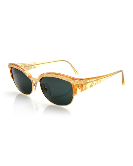 Christian Dior Printed Embossed Square Sunglasses, Gold