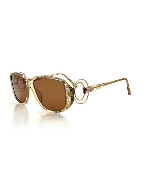 Christian Dior Printed Square Metal-Trim Sunglasses, Beige