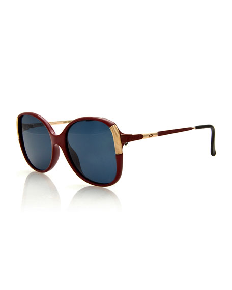 Monochromatic Square Metal-Trim Sunglasses, Red