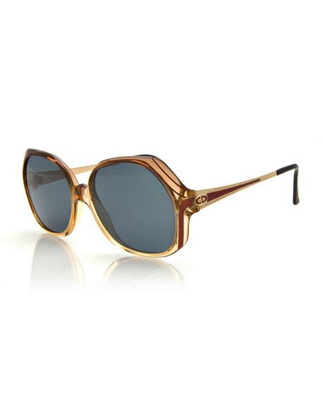 Printed Oversize Square Sunglasses, Beige
