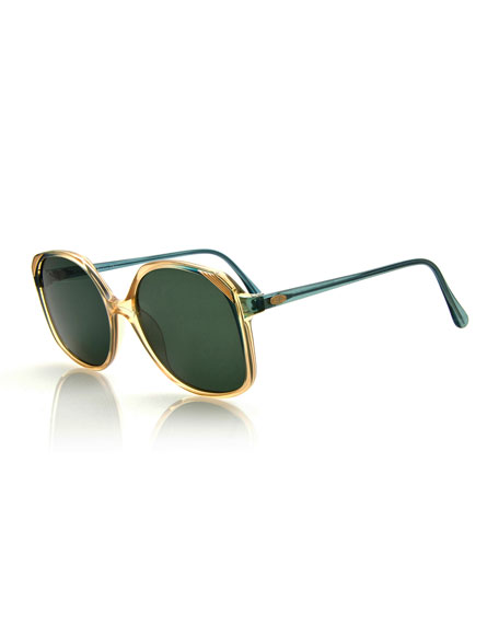Christian Dior Two-Tone Square Sunglasses, Green