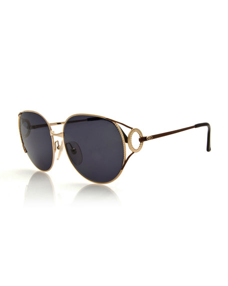 Christian Dior Oversized Monochromatic Bead-Trim Sunglasses, Gold