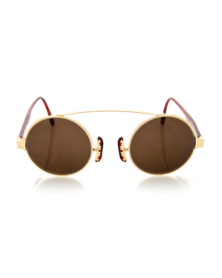 Round Brow-Bar Sunglasses, Gold/Red