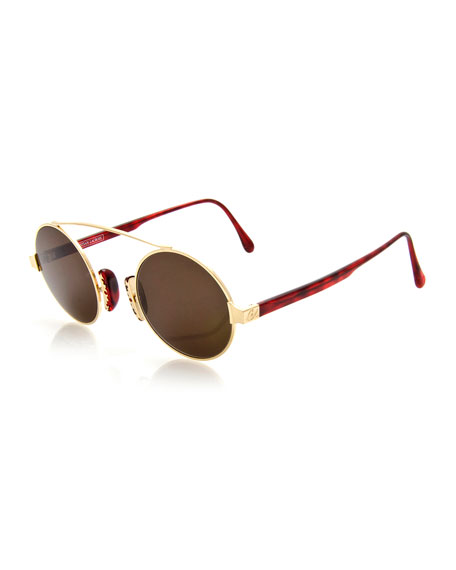 Christian Lacroix Round Brow-Bar Sunglasses, Gold/Red