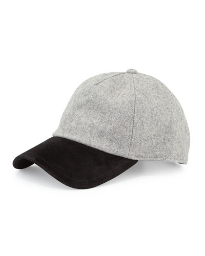 Marilyn Suede & Wool-Blend Baseball Cap, Gray