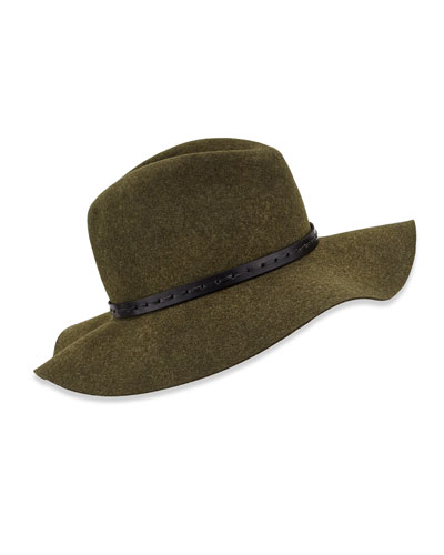 Wool Felt Wide-Brim Fedora Hat, Green