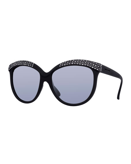 Italia IndependentI-Lux Matte Cat-Eye Sunglasses, Black