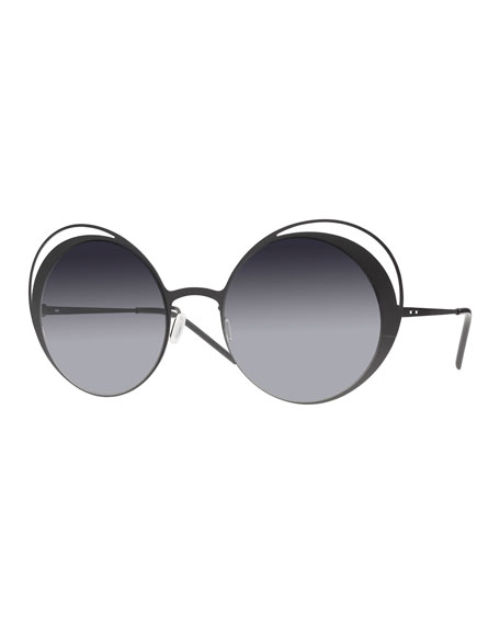 Italia Independent I-Metal Thin Butterfly Sunglasses, Black