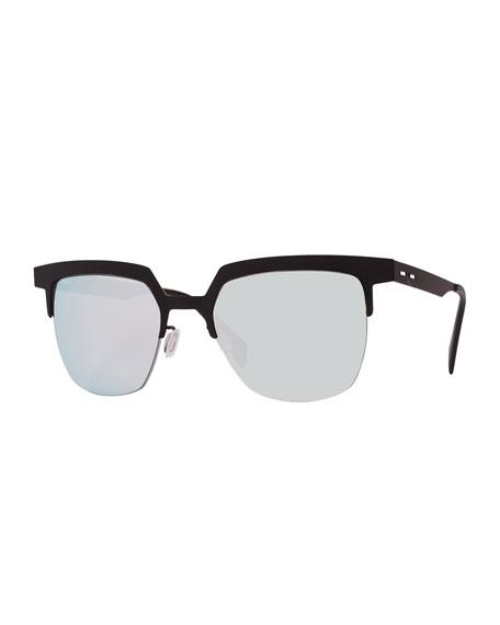 Italia Independent I-Metal Mirrored Cat-Eye Sunglasses, Black