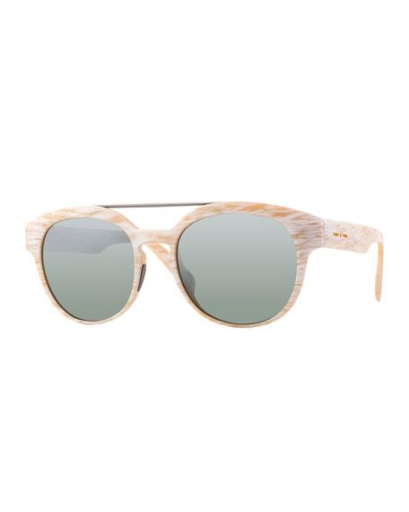 Italia IndependentI-Plastik Brushed Brow-Bar Sunglasses, Cream