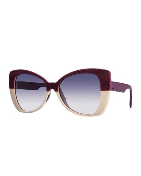 I-Plastik Velvet Butterfly Sunglasses, Burgundy/Cream
