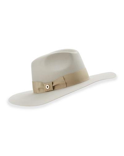 Kim Velvet Felt Floppy Hat, Gray